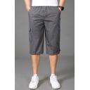 Cool Shorts Solid Color Flap Pocket Drawstring Zipper Applique Elastic Mid Rise Regular Fit Shorts for Men