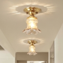 Blossom Amber Glass Flush Mount Fixture Rural Style 1-Head Foyer Close to Ceiling Lamp in Brass