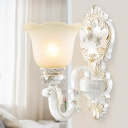 White 1/2-Head Wall Lighting Ideas Classic Opaline Glass Flared Wall Mount Light Fixture
