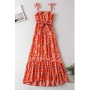 Girls Retro Tribal Style Floral Pattern Printed Pleated Ruffle Trim Stringy Selvedge Knot Straps Sleeveless Midi Sundress