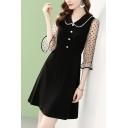 Black Stylish Sheer Mesh Patchwork Polka Dot Print Beaded Peter Pan Collar 3/4 Flare Cuff Sleeve Short A-Line Dress for Women