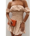 Cute Girls Ditsy Floral Printed Short Sleeve Off the Shoulder Pintuck Short A-line Dress in Pink