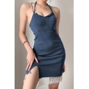 Unique Ladies Blue Strappy Halter Hollow Out Back Stringy Selvedge Lace Panel Sit Side Mini Sheath Cami Dress