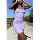 Stylish Solid Color Spaghetti Straps Ruched Mini Sheath Cami Dress in Purple
