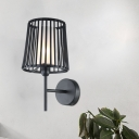 Black 1 Bulb Wall Lamp Fixture Industrial Opal Glass Cylinder Wall Light with Conical Metal Cage Design