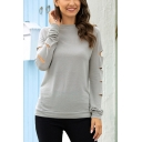 Chic Womens Solid Color Crew Neck Long Cut-Out Sleeve Regular Fitted Tee Top