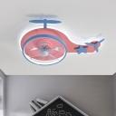 Modernist Helicopter Semi Flush Light Metal LED Bedroom Hanging Fan Lamp Fixture in Pink, 18