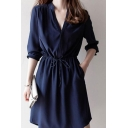 New Stylish Plain V-Neck Long Sleeve Drawstring Waist Dress