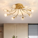 Modo Semi Flush Mount Light Fixture Simple Crystal 8 Lights Dining Room Ceiling Lamp in Gold with Sputnik Design