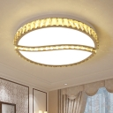 Round Splicing Faceted Crystal Ceiling Lamp Contemporary LED Chrome Flush Light Fixture in Warm/White Light