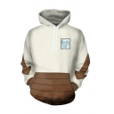 Popular Guys Contrasted Arrow Pattern Long Sleeve Drawstring Pouch Pocket Loose Hoodie