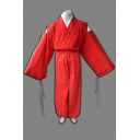 Trendy Solid Color Cut Out Long Sleeve Surplice Neck Loose Kimono & Long Baggy Pants Red Set