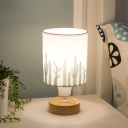 Fabric Cylinder Night Lamp Modernist Single Bulb Table Light with Tree/Fish/Cactus Pattern in White