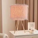 Cylinder Kids Room Desk Lighting Metal Single Head Nordic Night Light with Tripod Design in White/Pink