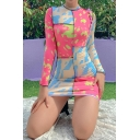 Unique Tie Dye Printed Long Sleeve Ribbed Contrasted Crew Neck Mioni Sheath T Shirt Dress in Pink