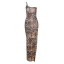 Sexy Womens Tiger Printed One Shoulder Slit Side Short Sheath Cami Dress in Khaki