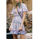 Bohemian Girls Allover Floral Printed Short Sleeve V-neck Tied Button Up Ruffled Short A-line Pleated Dress in Purple