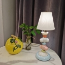 1 Light Living Room Table Lamp Macaron White Nightstand Lighting with Conical Fabric Shade
