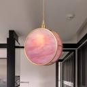 Drum Sleeping Room Ceiling Pendant Blue/Pink Glass 1 Head Modern Style Pendulum Light in Gold