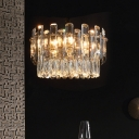 Clear Crystal Drum Drop Lamp Contemporary 6 Lights Dining Room Chandelier Light Fixture