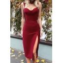 Sexy Spaghetti Straps Sleeveless Plain Mini Cami Bodycon Dress