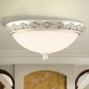 Countryside Domed Shade Flushmount 3 Heads White Frosted Glass Flush Mount Fixture for Bedroom