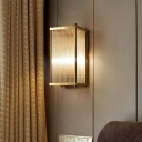 1/2-Bulb Cuboid Flush Mount Wall Sconce Simple Gold Crystal Rods Wall Light for Bedroom, 12