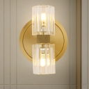 Gold 2 Heads Wall Light Sconce Postmodern Crystal Cylindrical Wall Mounted Lamp for Bedroom