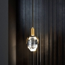 Oval Bedside Pendant Light Fixture Simple Beveled Crystal Clear LED Hanging Lamp