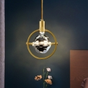Gold Circular Down Lighting Pendant Postmodern Metal Bedside LED Suspension Light with Ball Clear Crystal Diffuser
