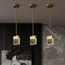 Clear Seeded Crystal LED Pendant Lamp Minimalistic Brass Rectangle Dining Room Hanging Light Fixture
