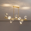 Cut Crystal Gemstone Clear Island Light Linear Postmodern LED Hanging Pendant over Table