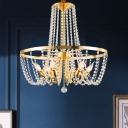 Clear Crystal Chain Brass Hanging Light Basket Shaped 6-Light Mid Century Pendant Chandelier