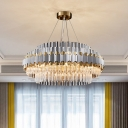 Modern Multi-Layer Round Ceiling Pendant 12 Lights Prismatic Clear Crystal Chandelier Lighting