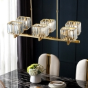 Linear Crystal Cuboid Island Lamp Postmodernist 6-Bulb Dining Table Suspension Lighting in Gold