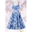 Adorable Girls Tie Dye Allover Print Bow Tied Front Mid Pleated Swing Cami Dress