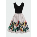 Ladies Black Sleeveless Scalloped V-neck Butterfly Print Patchwork Vintage Midi Pleated Flared Dress