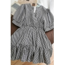 Vintage Checkered Plaid Pleated Ruffle Cuff Zip Back V Neck Short Puff Sleeve Short A-Line Dress for Girls