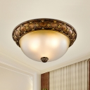 Brown Dome Flush Ceiling Light Countryside Frosted Glass 3-Bulb Hotel Flushmount Lighting, 15