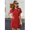 Simple Solid Color Zipper Embellished Round Neck Short Sleeve Mini Sheath T Shirt Dress for Women