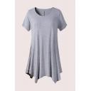 Simple Plian Asymmetric Short Sleeve Crew Neck Oversized Tunic T-Shirt for Womens