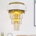 Round/Retangle Tiered Crystal Flush Mount Postmodern 3 Lights Parlor Wall Sconce Lighting in White-Brass