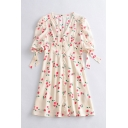 Novelty Girls Cherry Printed Button Down Back Pleated Bow Short Puff Sleeve V Neck Midi A-Line Dress in White