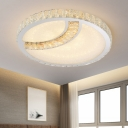 LED Surface Mount Ceiling Light Minimal Dining Room Flushmount with Round/Square Crystal Shade in Chrome