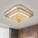 Cut Crystal White Ceiling Flush Light Dual Square Modern Style LED Flush Mounted Lamp for Bedroom