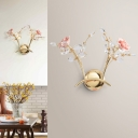 Contemporary 2 Lights Wall Sconce Lighting with Hand-Cut Crystal Shade Gold Blossom Wall Lamp