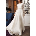 White Elegant Womens Cut Out Lace Gathered Waist Pleated Open Back Crew Neck Long Sleeve Maxi Fit&Flare Gown Wedding Dress
