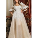 Novelty Womens Sheer Mesh Patchwork Sequin Embellished Gathered Waist Square Neck Bell Sleeve Floor Length Fit&Flare Gown Prom Dress in White