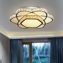 Beveled K9 Crystal Flower Flush Mount Modernist Bedroom LED Surface Mount Ceiling Light in Chrome