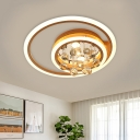 Acrylic Gold Flush Mount Light Square/Triangle/Round/Loving Heart Modern Stylish LED Ceiling Lamp with Crystal Orb Drop